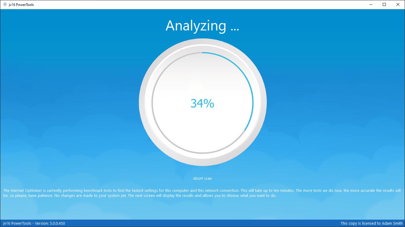 Internet Optimizer running