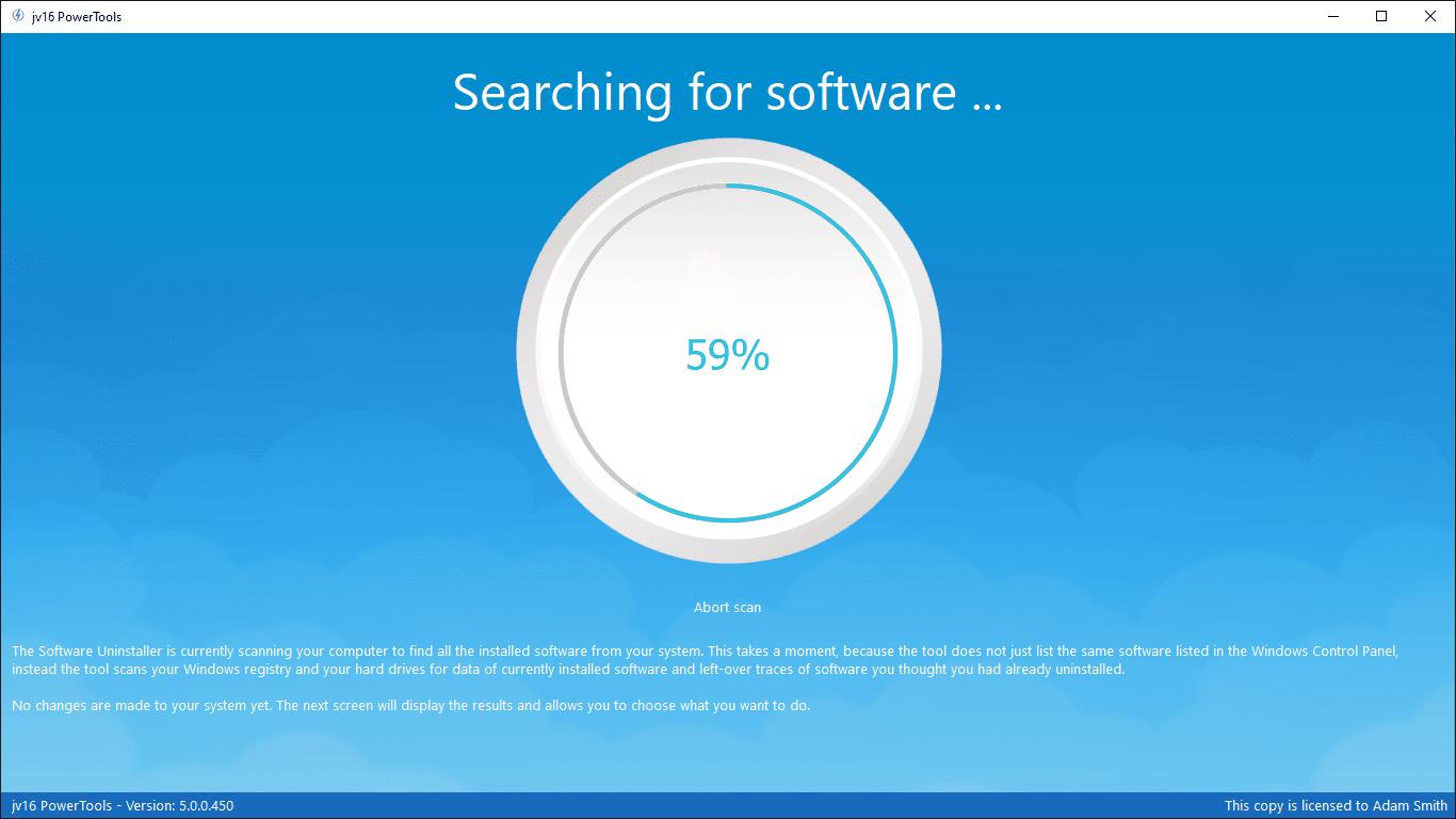 Software Uninstaller running