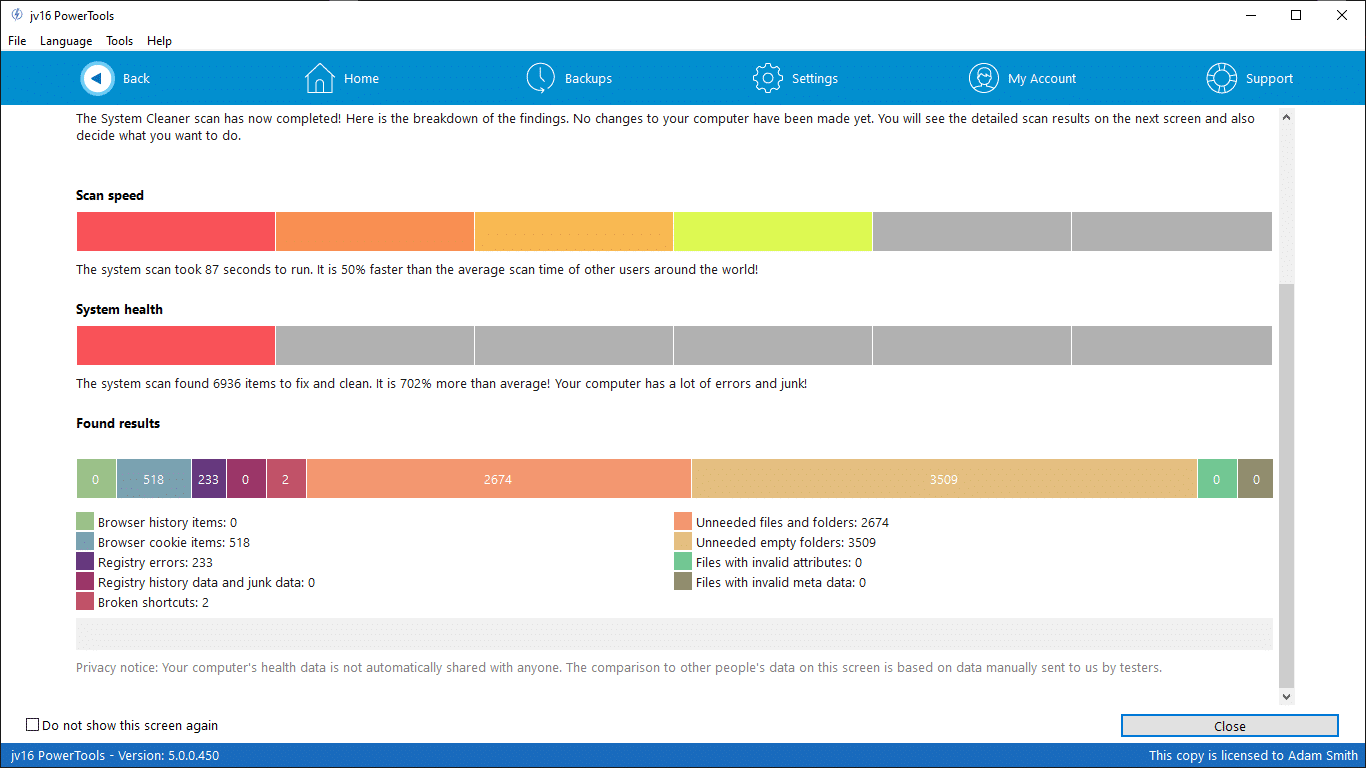 System Cleaner report screen