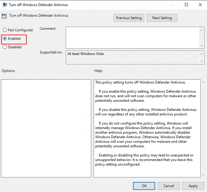 "Turn off Windows Defender Antivirus ""Enabled"""