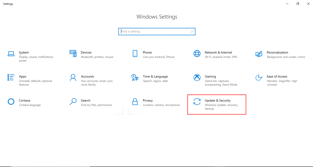 Disable Windows Defender: Select Update and Security