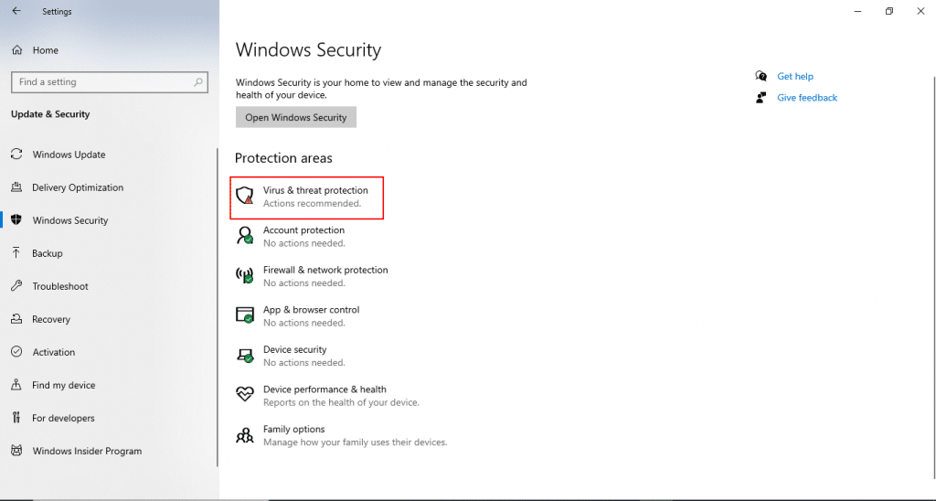 disable windows defender virus and threat detection