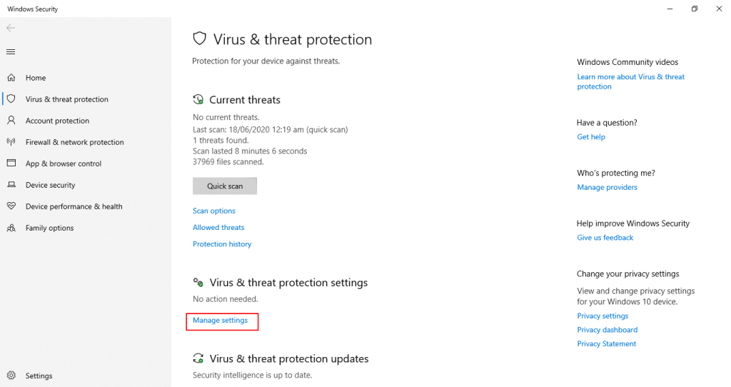 disable windows defender manage settings