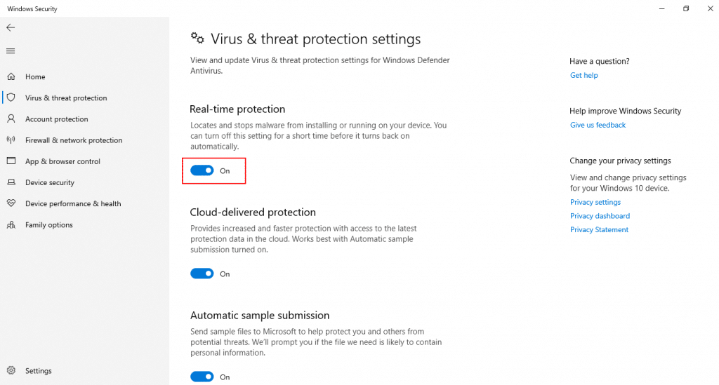 virus and threat detection settings