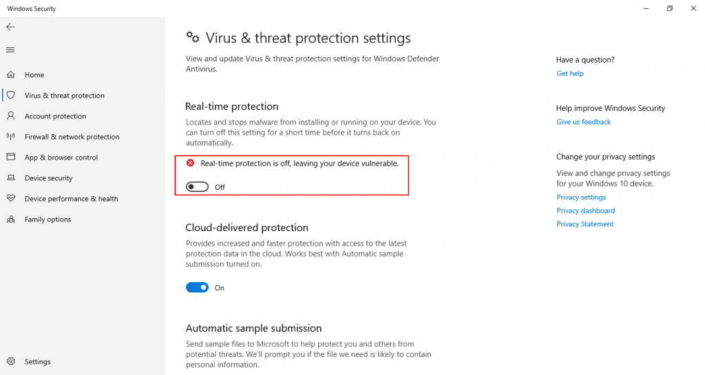 Windows Defender real time protection is off