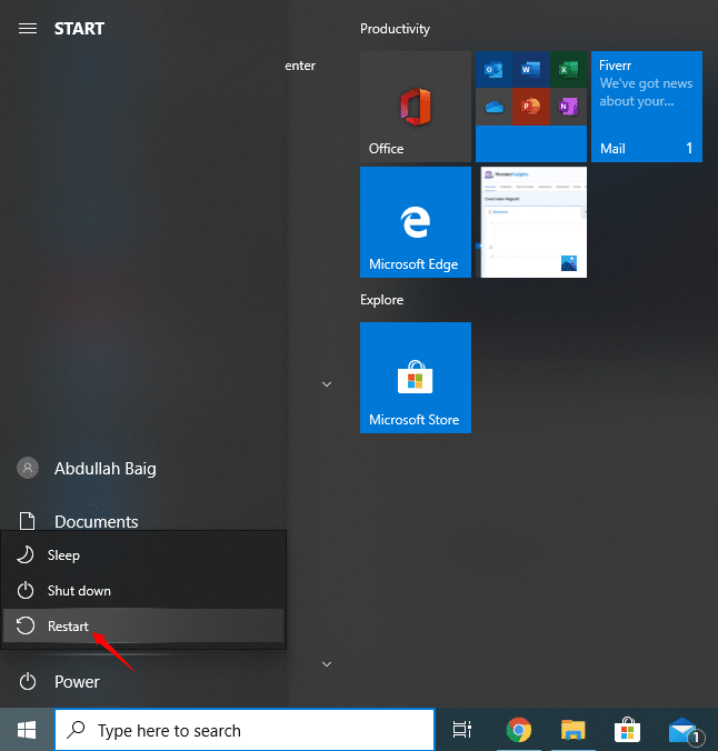 Safe mode on Windows - Restart for options menu