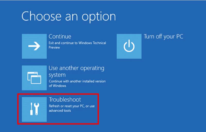 Windows 10 Safe Mode - Select Troubleshoot
