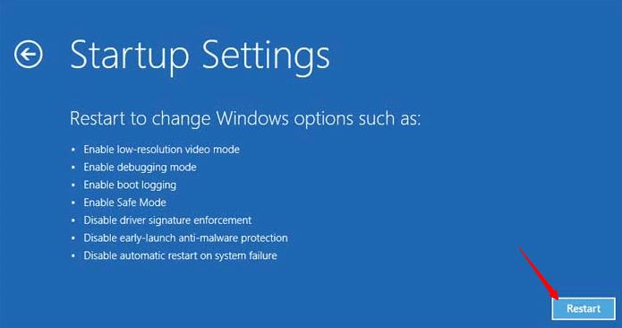 Windows Safe Mode - Click Restart