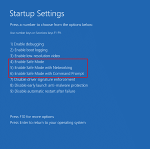 Startup Settings Options