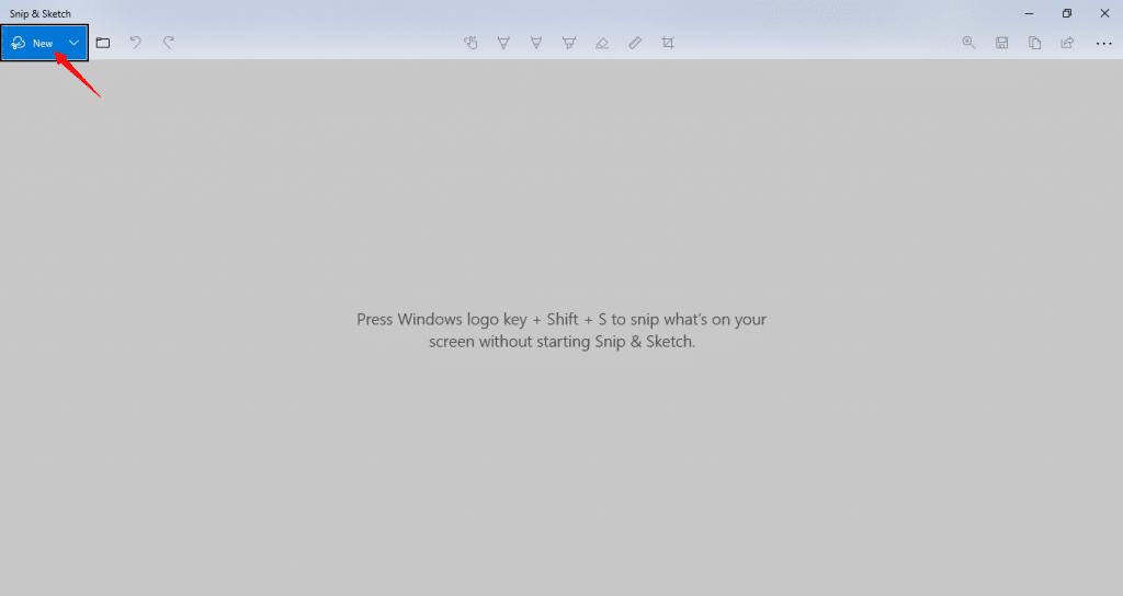 How to take a screenshot by Snip & Sketch - Step 2
