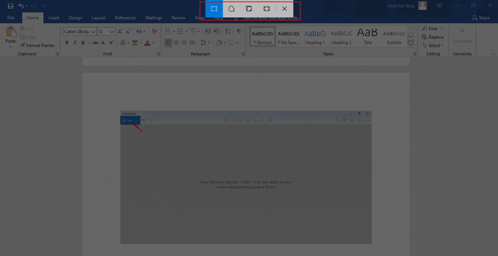 How to take a screenshot by Snip & Sketch - Step 3