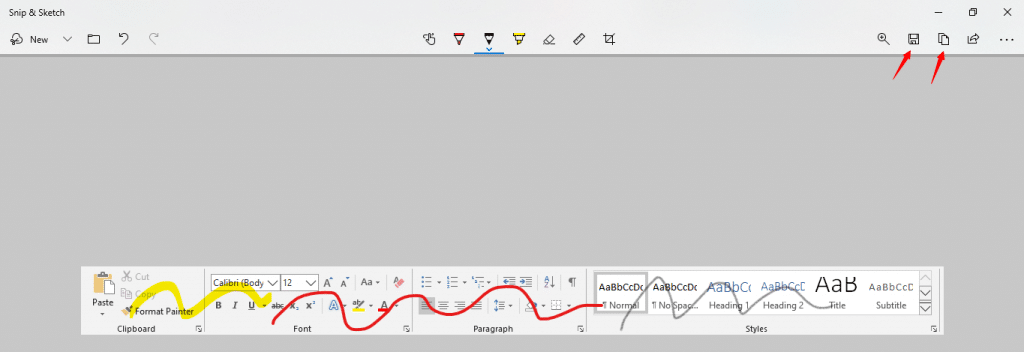How to take a screenshot by Snip & Sketch - Step 5