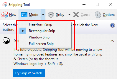 How to take a screenshot by Snipping tool - step 3
