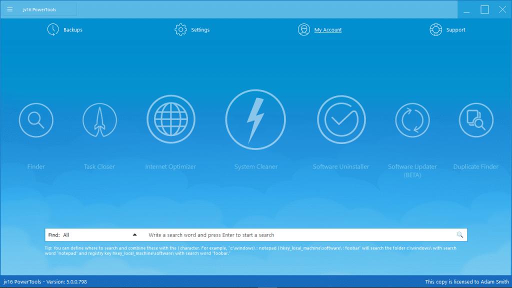 jv16 PowerTools Home Screen