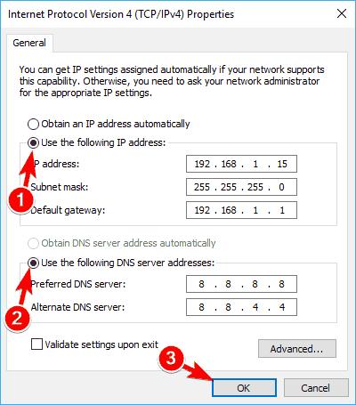 ethernet valid ip configuration IP address manual