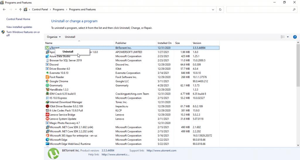 uninstall programs on Windows 10 through the Control Panel
