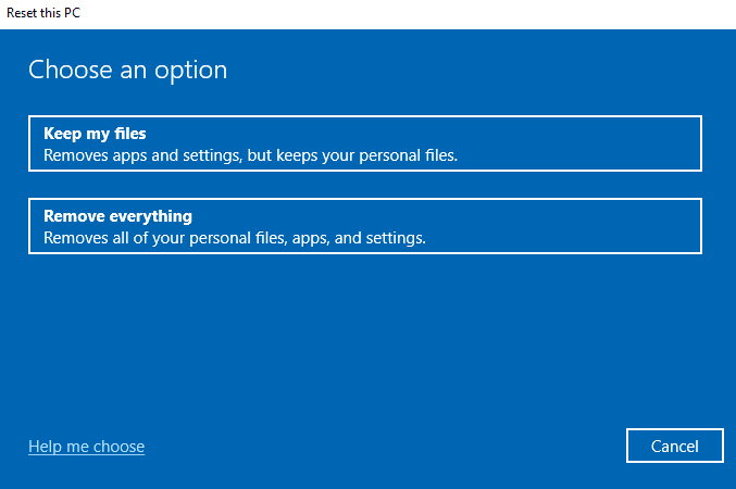 Choose keep files or remove everything