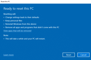 Click Reset button to reset your Windows 10