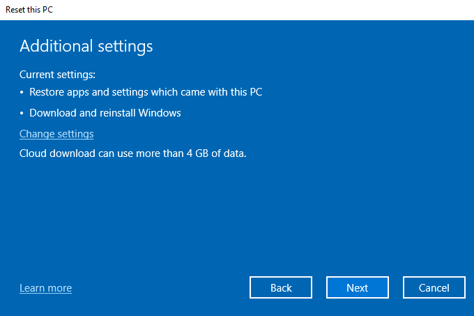 Review reset windows setting
