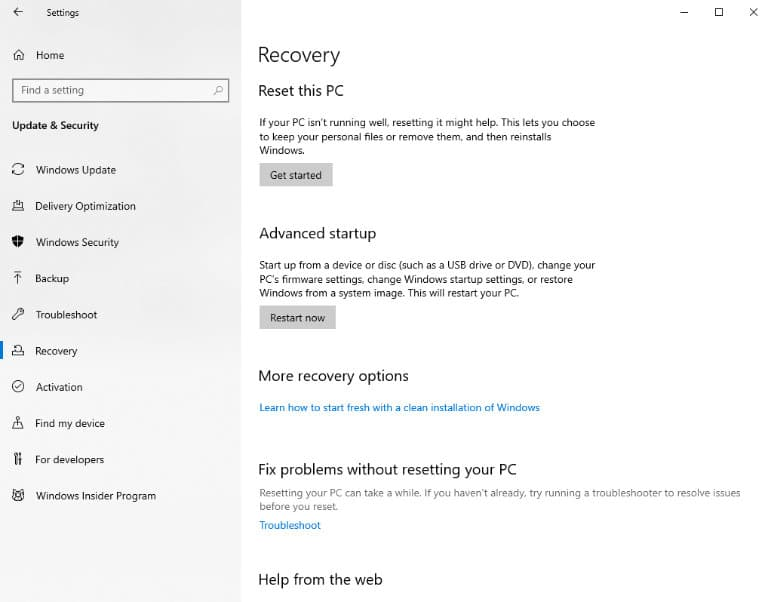 Get started button for factory reset Windows 10