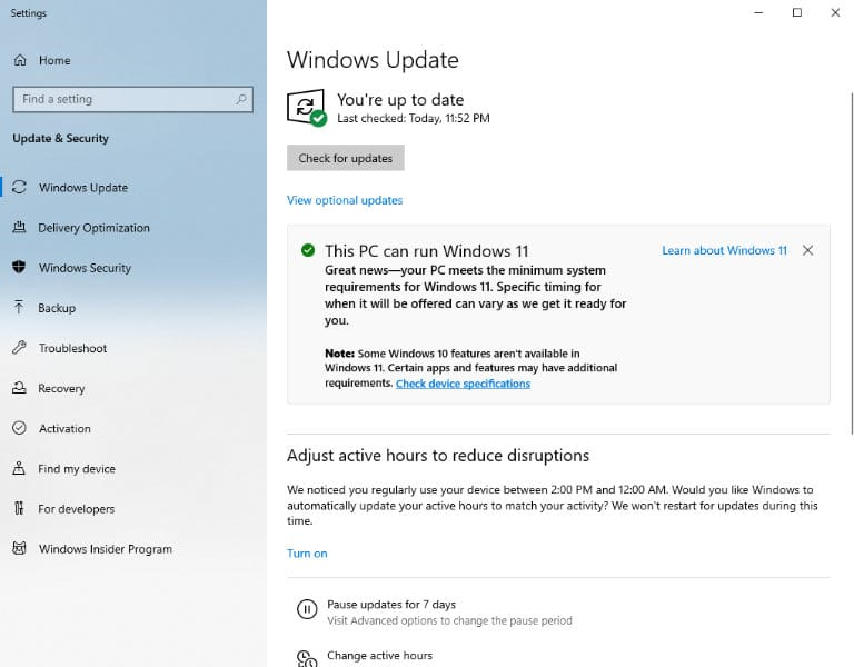 Select Windows Update of your Windows 10